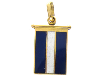 18ct Gold Blue & White Enamel Flag Charm