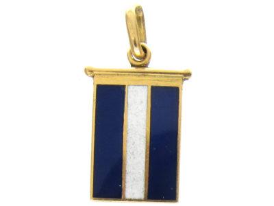 18ct Gold Blue & White Enamel Flag Charm