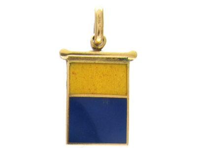 18ct Yellow & Blue Enamel Flag Charm
