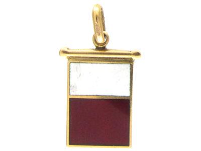 18ct Gold Red & White Enamel Charm