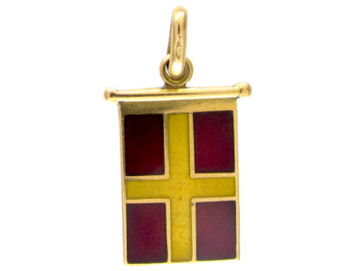 18ct Gold Yellow & Red Enamel Flag Charm