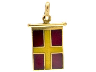 18ct Gold Yellow & Red Enamel Flag Charm