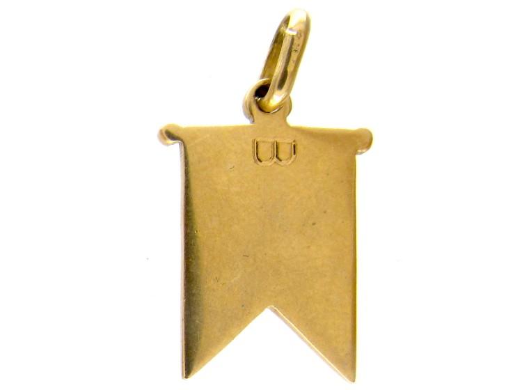 18ct Gold Red Enamel Flag Charm