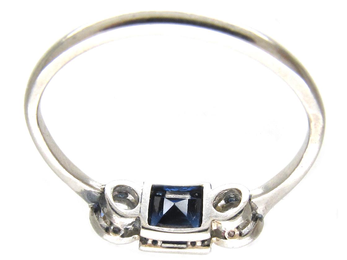 Art Deco Three Stone Square Sapphire & Diamond Ring