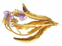 Georgian 15ct Two Colour Gold Botanical Brooch