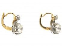 Diamond Two Stone Drop Earrings