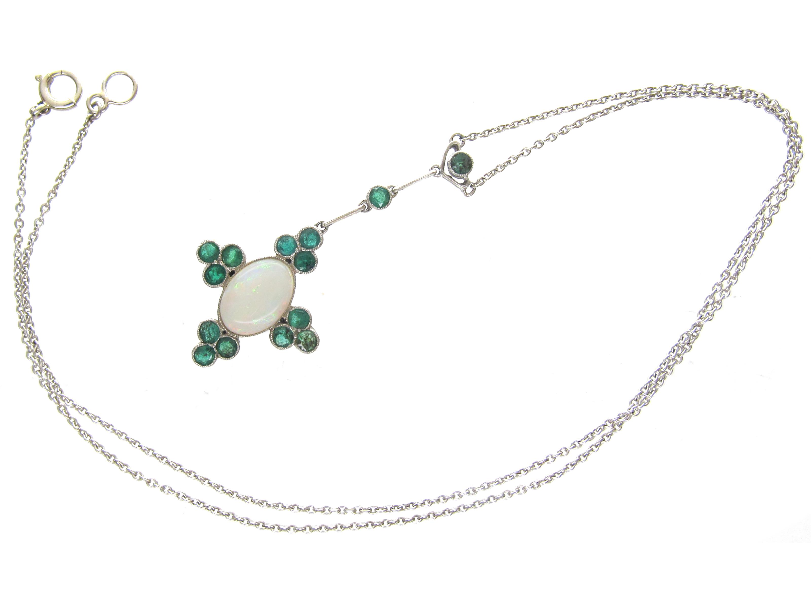 Art Deco Emerald & Opal Pendant on Chain