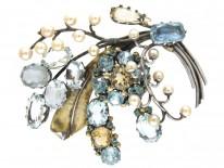 Dore Nossiter Multistone Gold & Silver Brooch