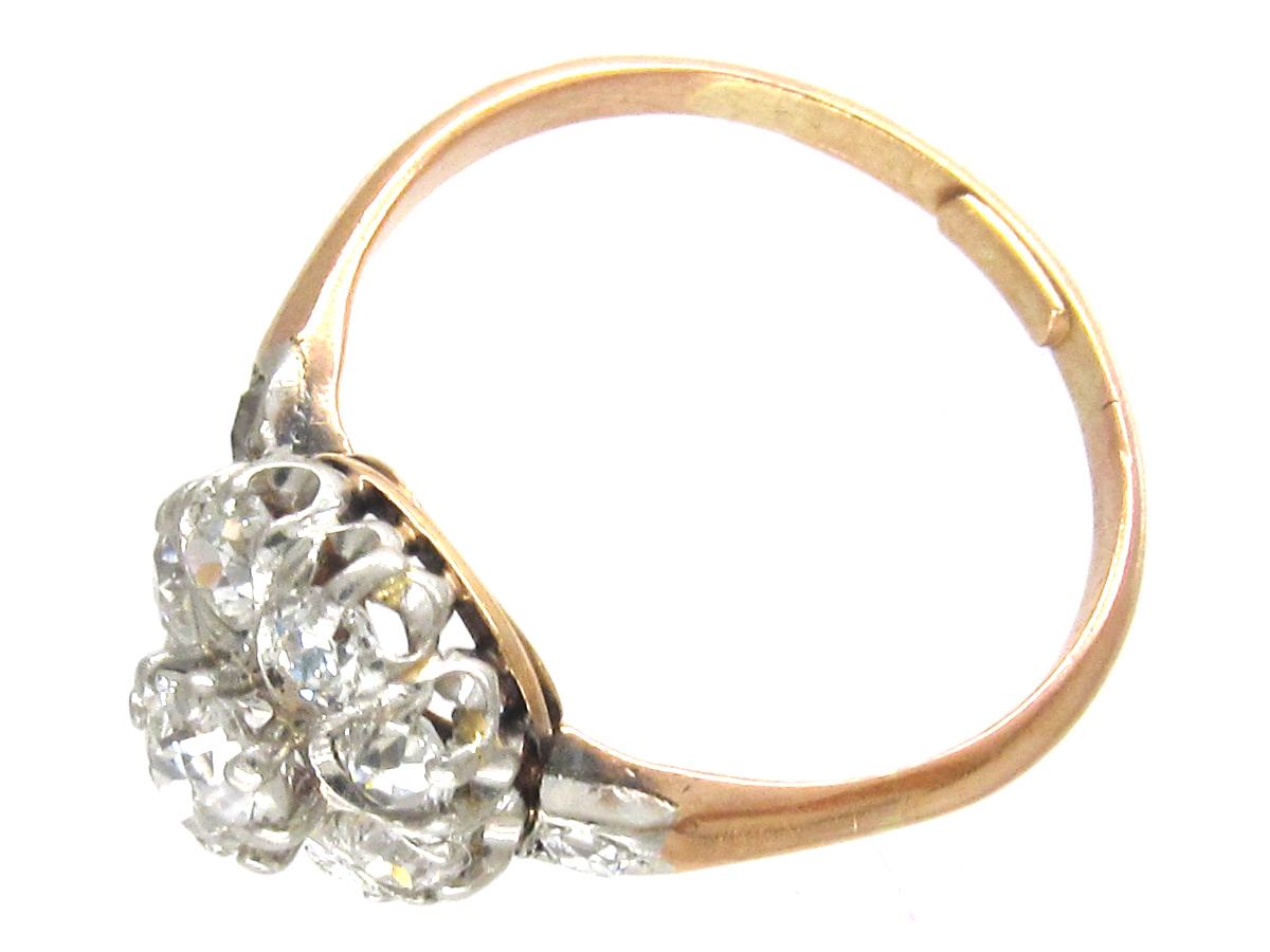 Edwardian Cluster Ring with Diamond Shoulders
