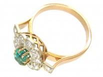 Art Deco Emerald & Diamond Ring with Diamond Shoulders