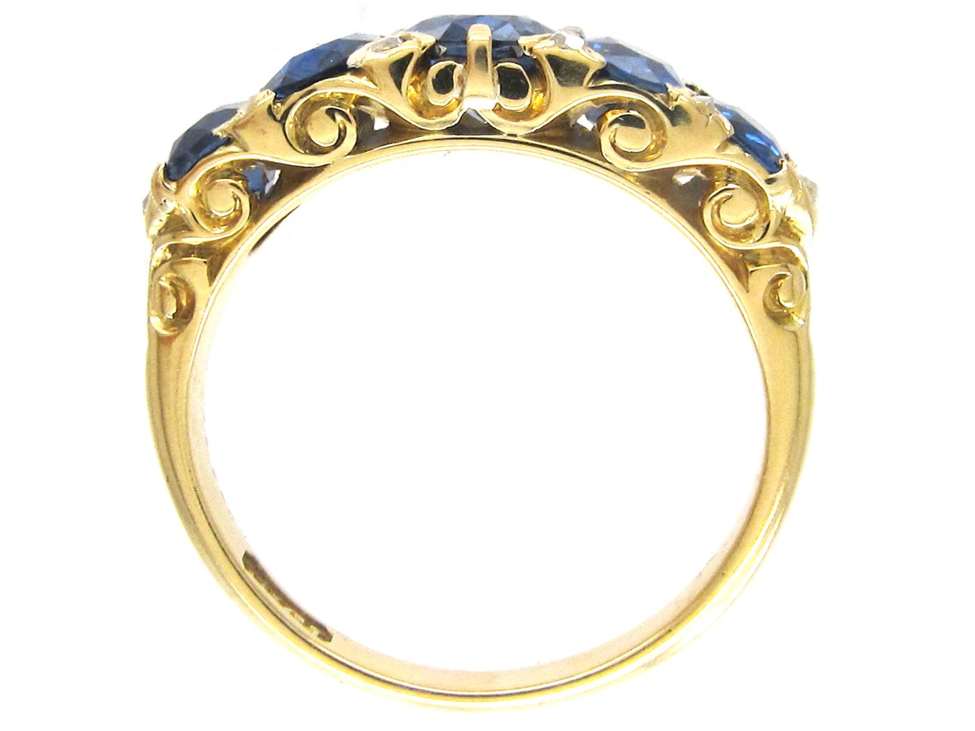 Victorian Five Stone Sapphire & Diamond Points Ring