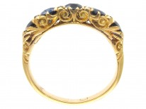 Victorian 18ct Gold Sapphire & Diamond Points Ring