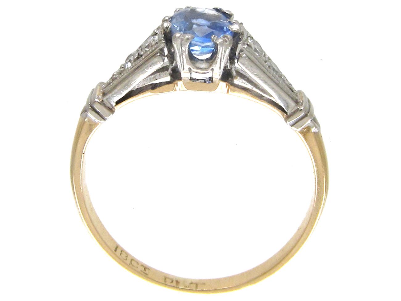 Art Deco Ceylon Sapphire & Diamond Ring