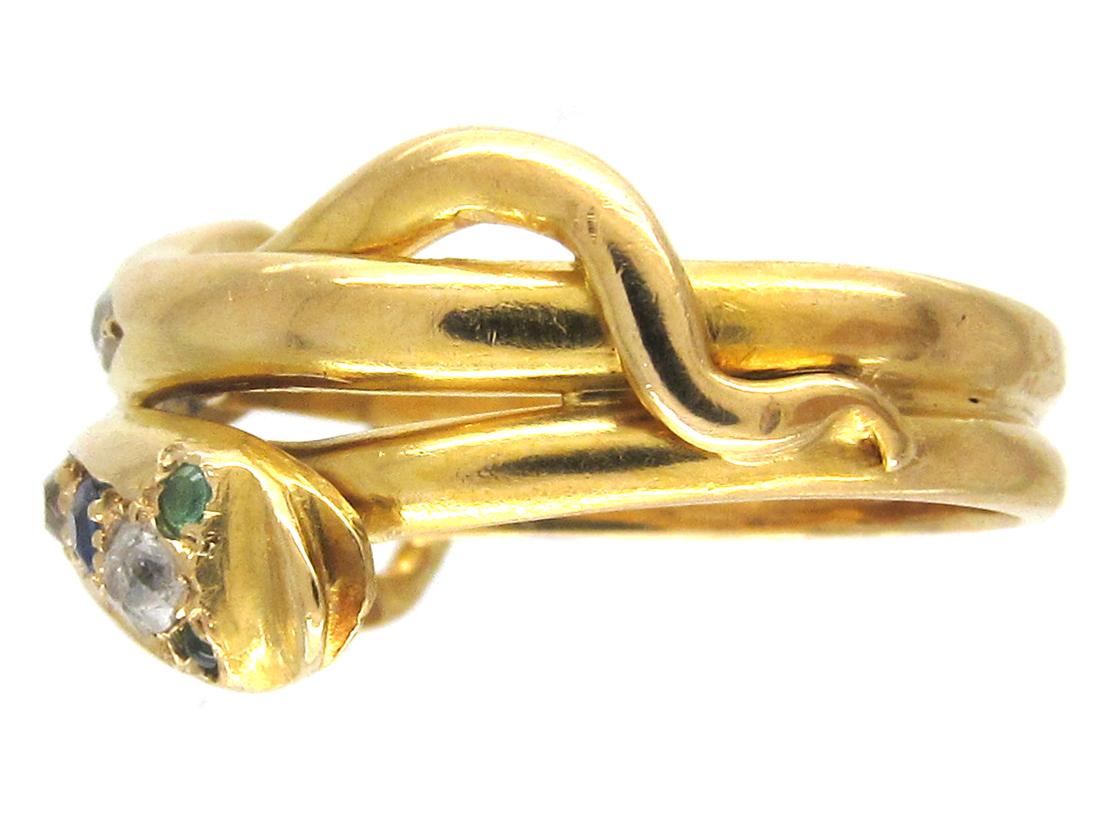 Edwardian 18ct Gold Sapphire Diamond Emerald & Ruby Double Snake Ring