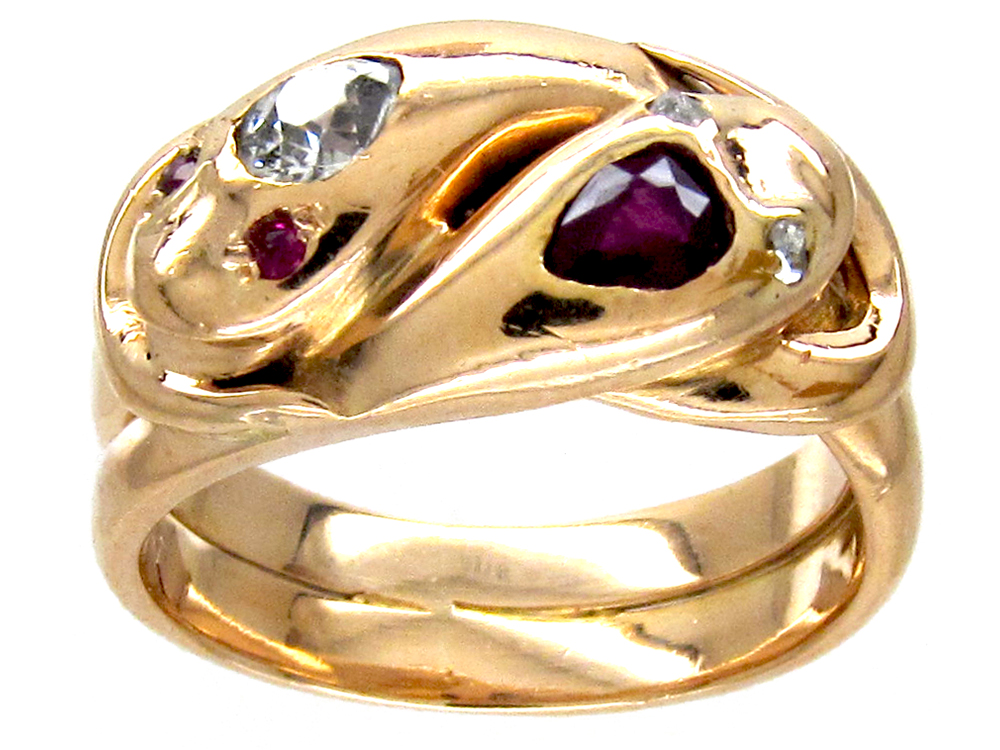 Victorian Double Snake Ruby & Diamond Ring