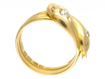 Victorian 18ct Gold & Diamond Double Snake Ring