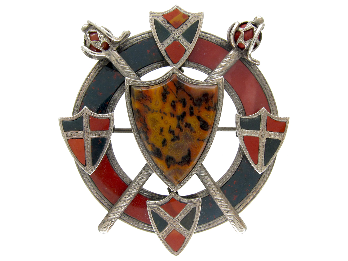 Scottish Victorian Silver Bloodstone & Jasper Shields & Swords Brooch