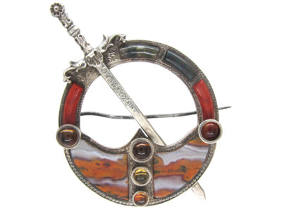 Victorian Scottish Silver & Agate Clan Brooch