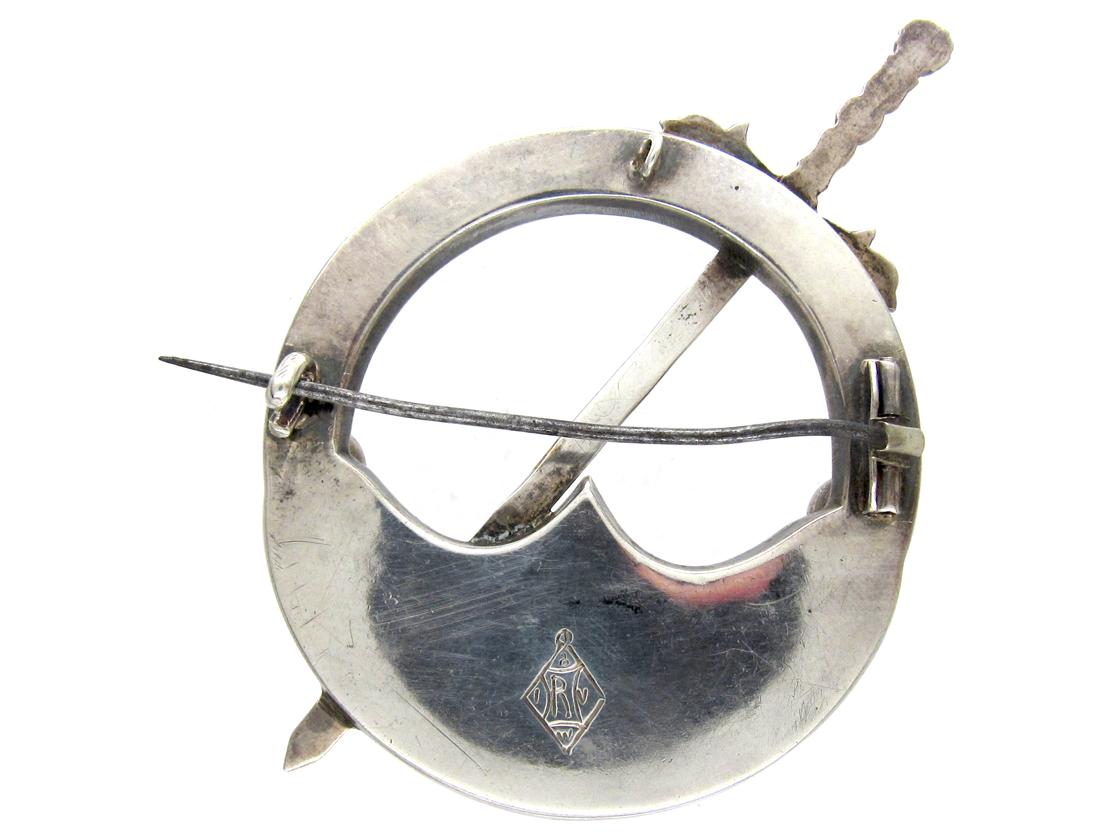 Victorian Scottish Silver & Agate Clan Brooch
