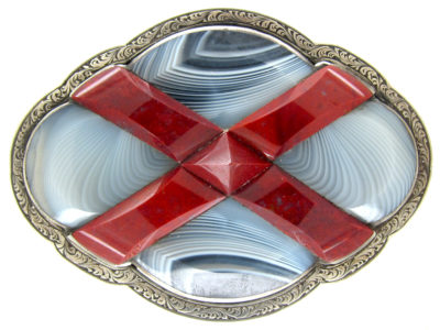 Victorian Scottish Silver, Jasper & Grey Agate Brooch