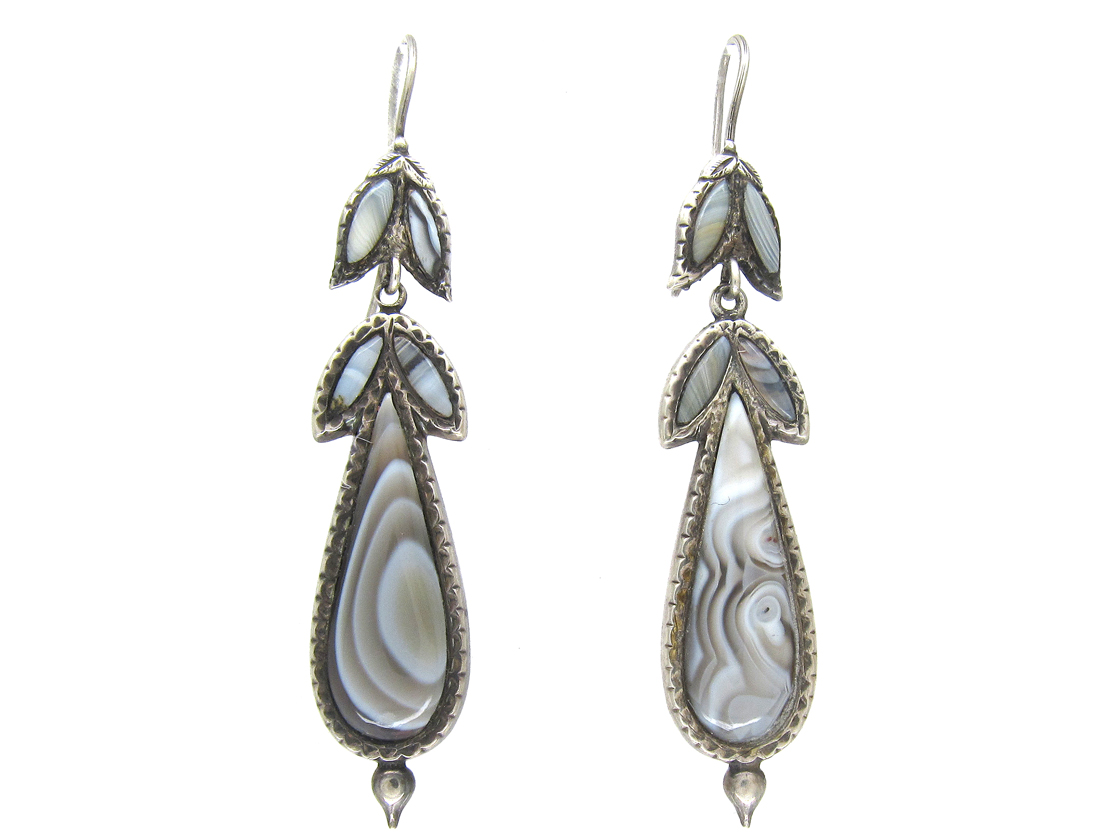 Victorian Scottish Silver & Grey Agate Earrings