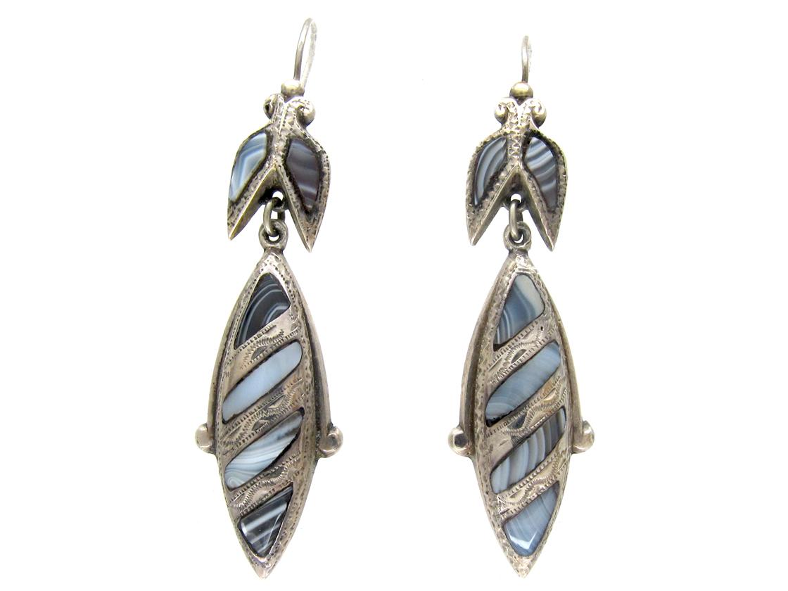 Victorian Scottish Silver & Grey Agate Drop Earrings