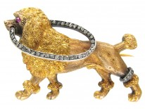 French 18ct Gold & Diamond Dog Brooch