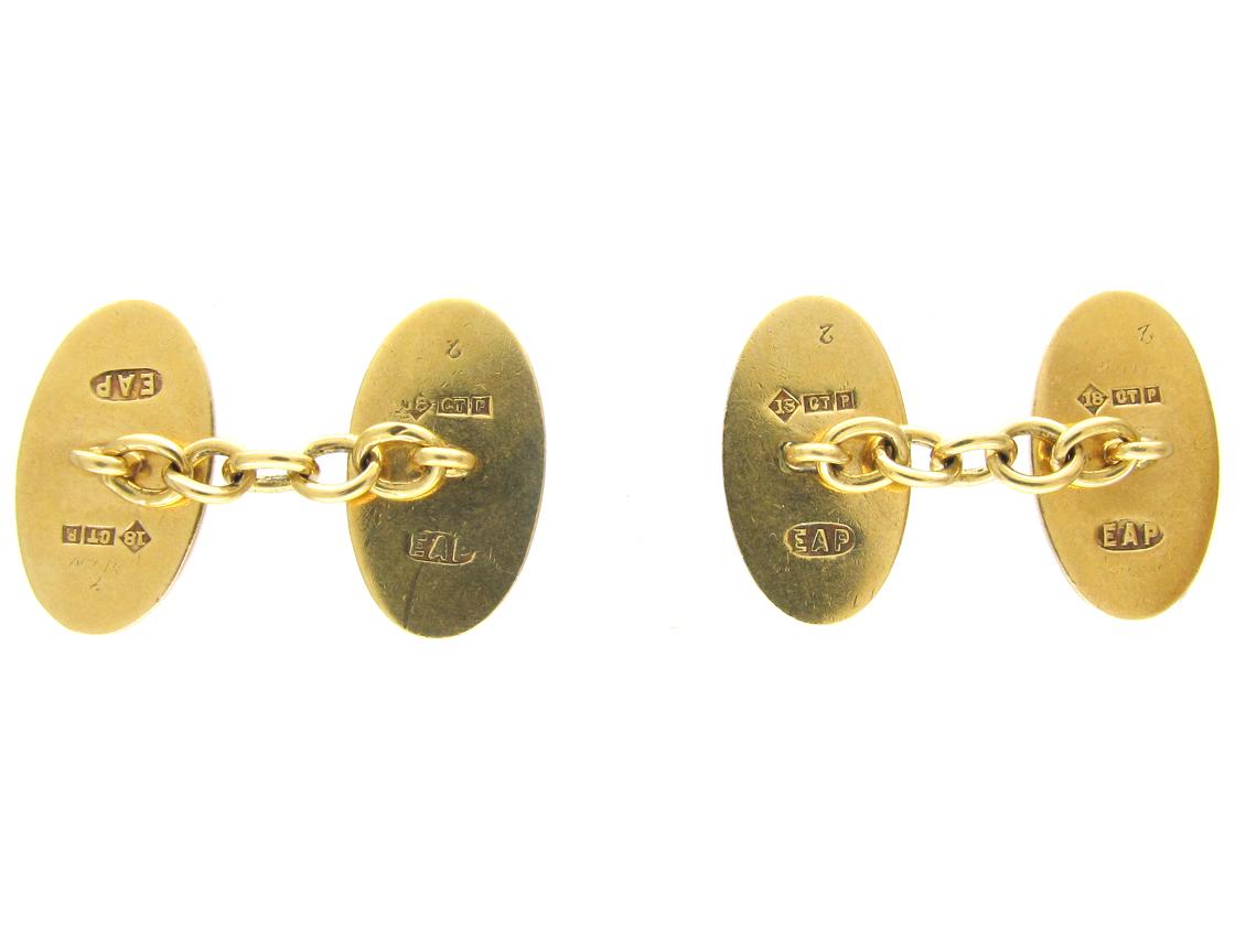 18ct Gold Blue & Red Enamel Oval Cufflinks