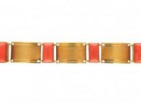 Art Deco 18ct Gold & Coral Bracelet