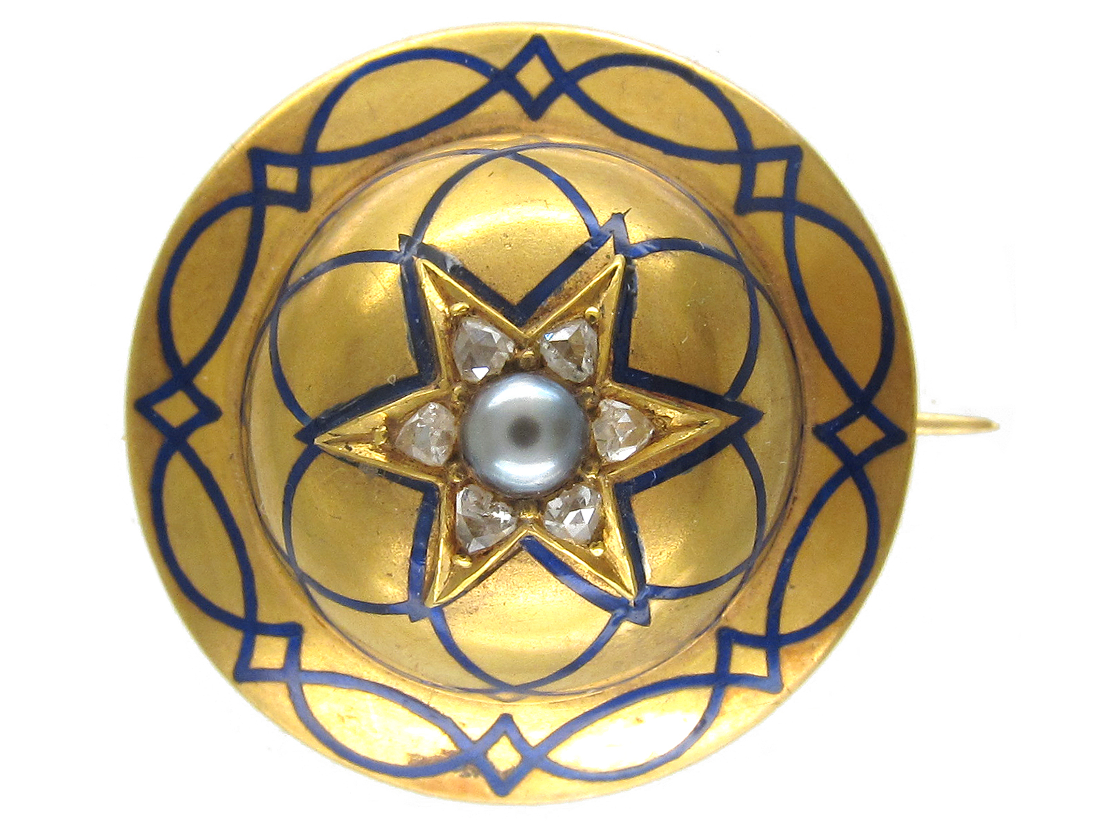 Victorian 18ct Gold Royal Blue Enamel & Diamond Round Brooch
