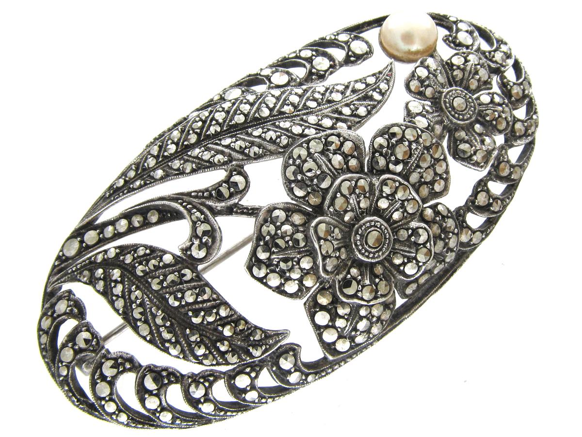Art Deco Silver & Marcasite Oval Flowers Brooch
