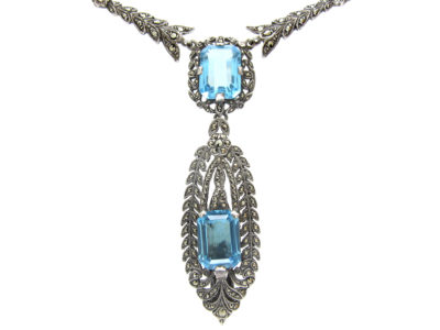 Silver, Marcasite & Blue Paste Clip Pendant on Necklace