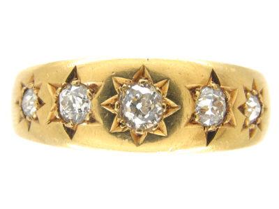 Victorian 18ct Gold Five Stone Diamond Gypsy Ring