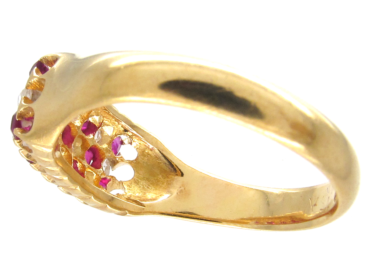 Victorian 18ct Gold Ruby & Diamond Chequerboard Ring