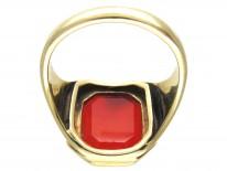 Carved Carnelian Intaglio Crest Signet Ring