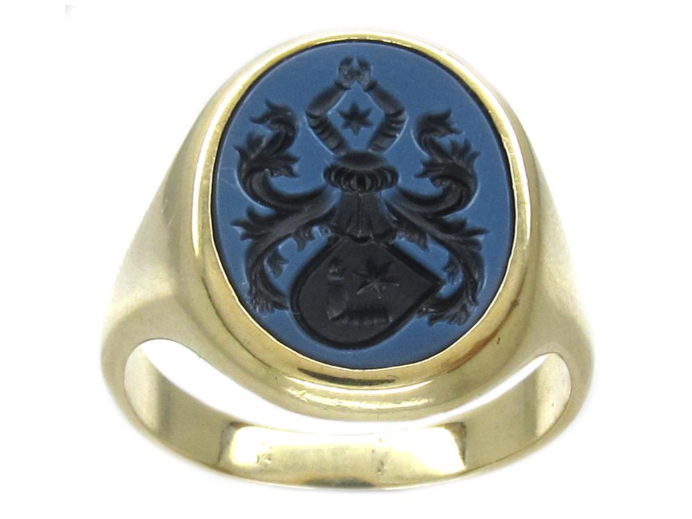14ct Gold Sardonyx Intaglio Signet Ring