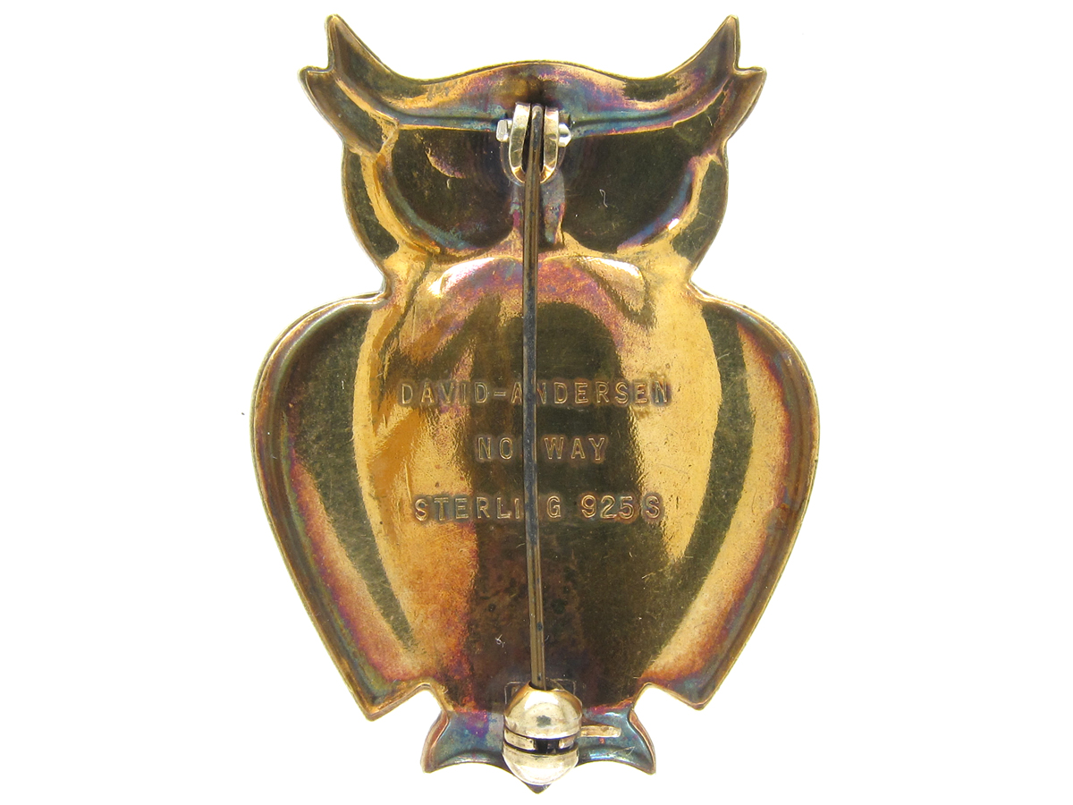 Silver Gilt & Enamel Owl Brooch by David Anderson