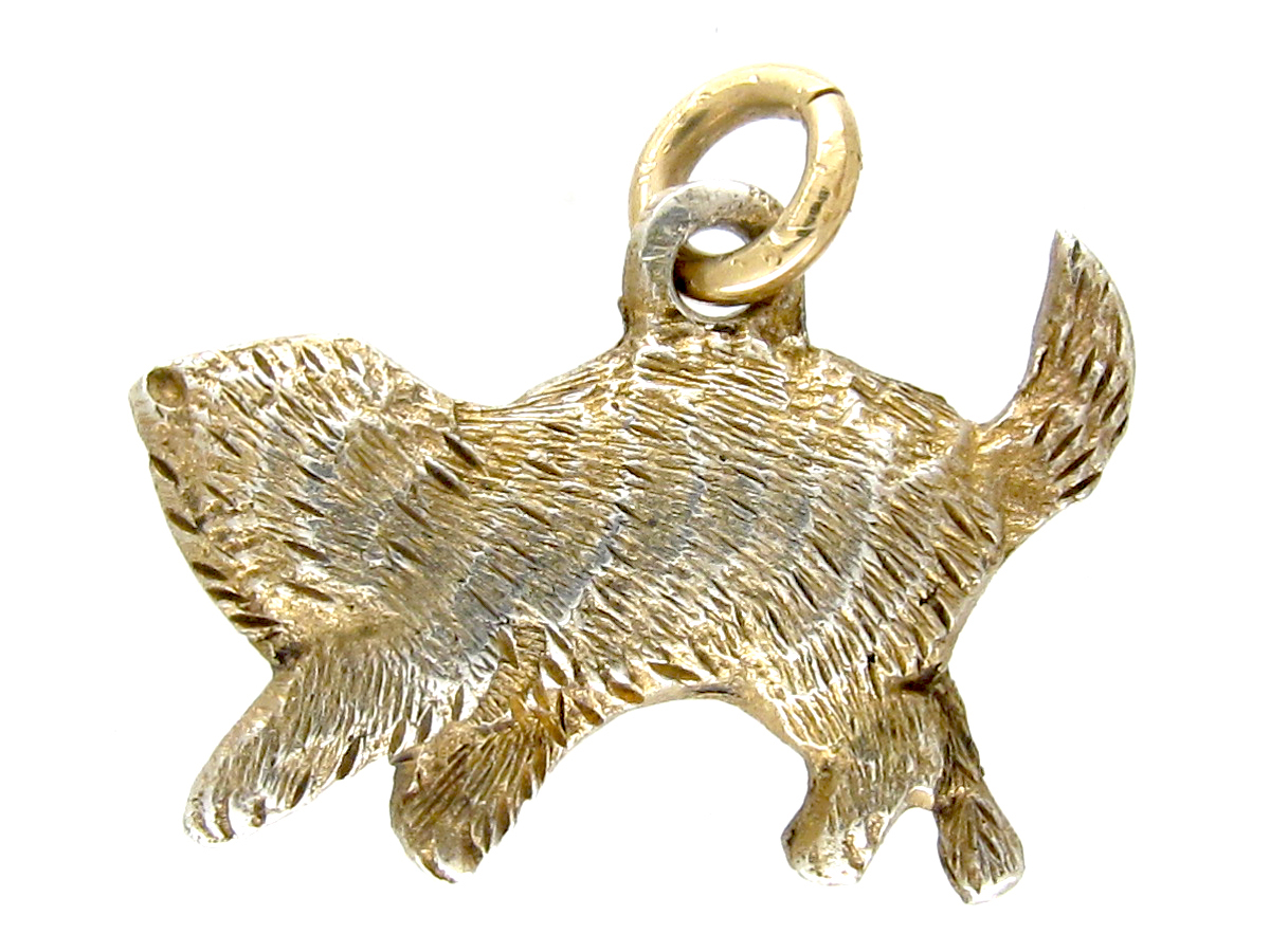 Silver Gilt Cat Charm