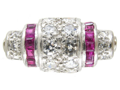 Art Deco Platinum, Ruby & Diamond Rollover Ring