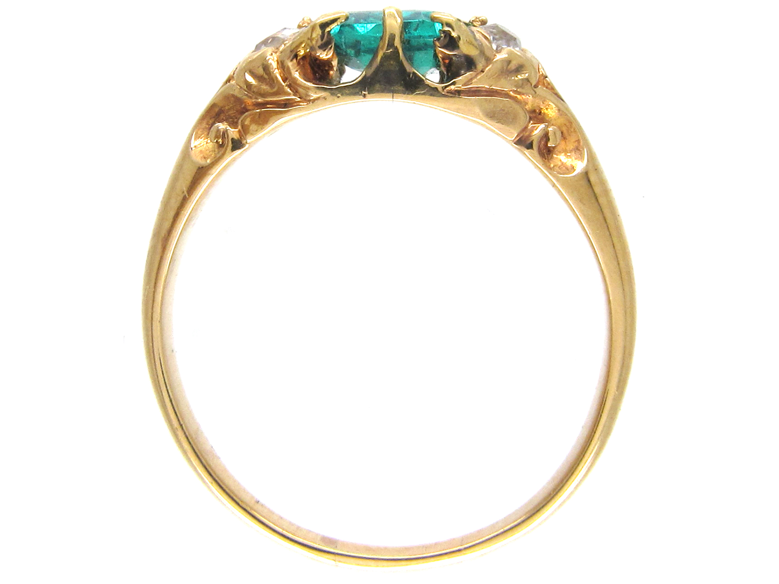 Victorian Rectangular Emerald & Diamond 18ct Gold Ring