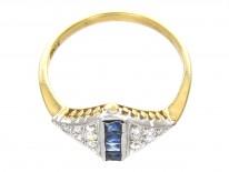 Art Deco Sapphire Stripe & Diamond Triangles Ring