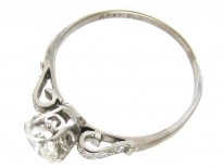 Art Deco Solitaire Ring with Diamond Set Scroll Shoulders