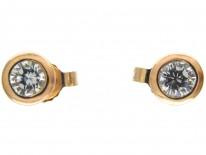 Diamond & 18ct Gold Rub Over Set Stud Earrings