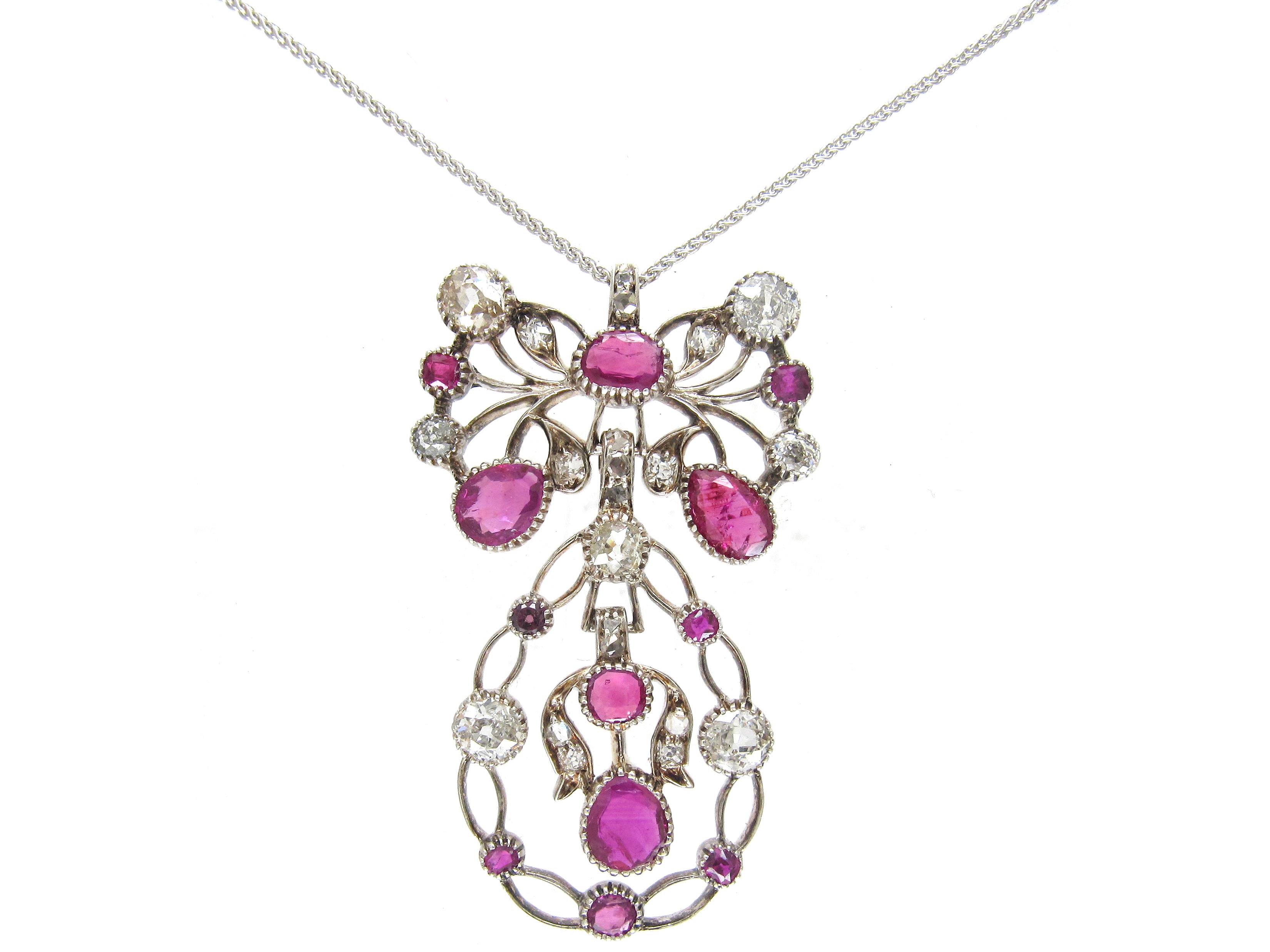 Ruby & Diamond Bow & Swag Pendant on Chain