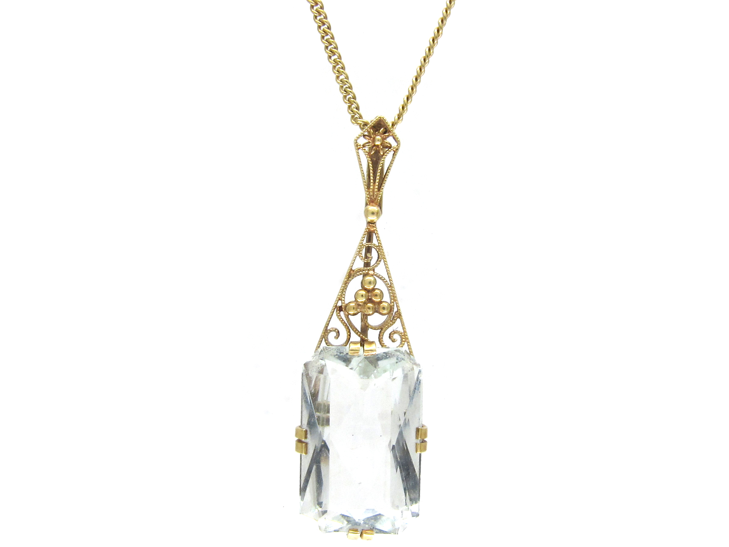 Art Deco Aquamarine & Gold Pendant on gold Chain