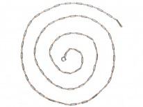 Edwardian Silver, Gold & Niello Guard Chain