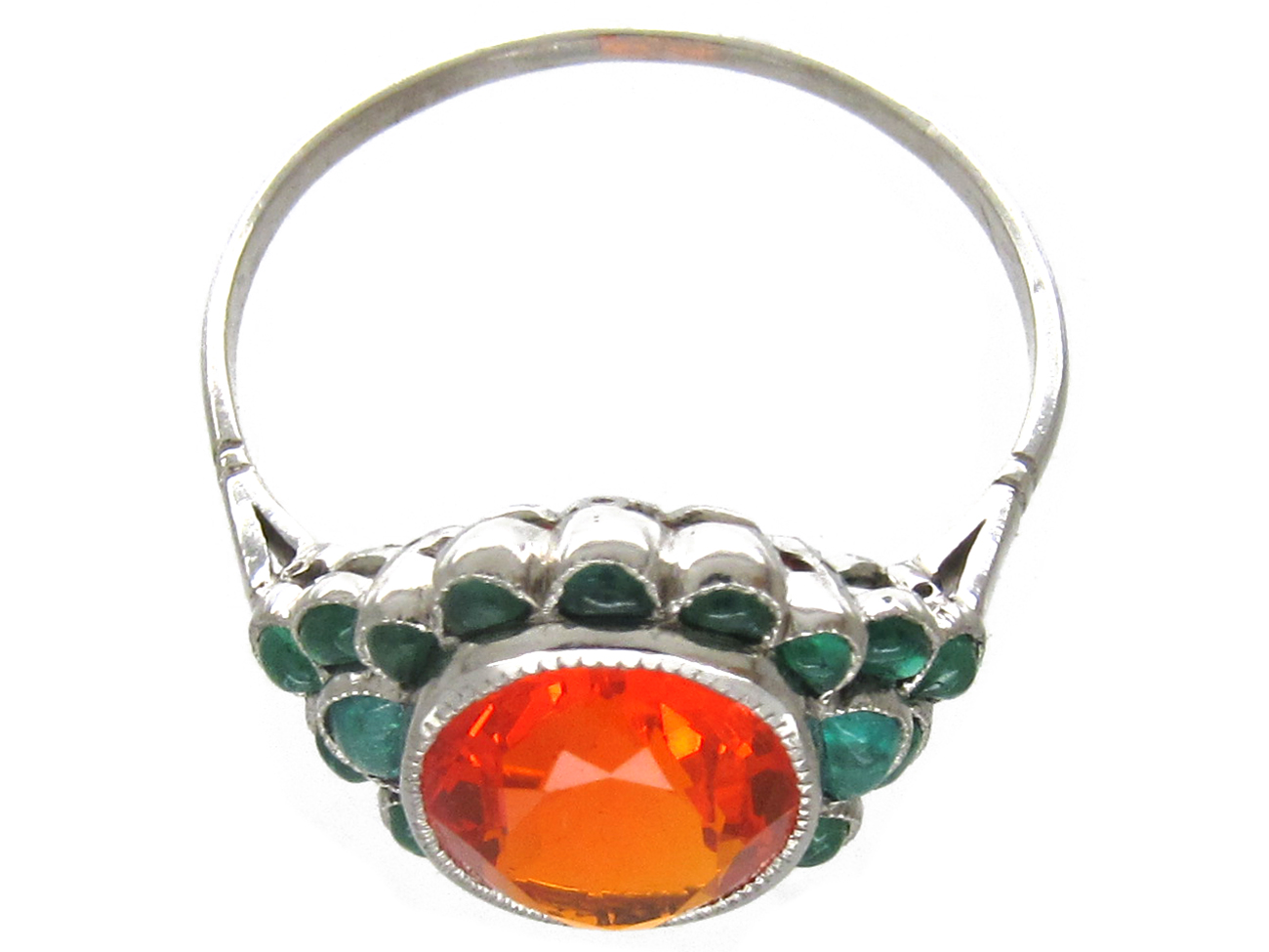 Edwardian Fire Opal & Carved Cabochon Emerald Ring