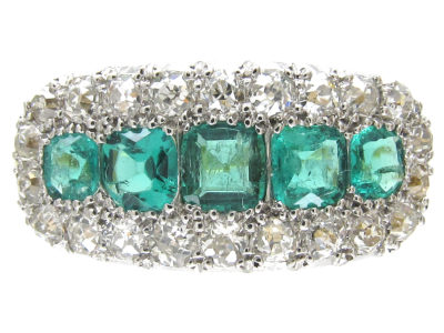 Edwardian Emerald Five Stone & Diamond Boat Shaped Ring