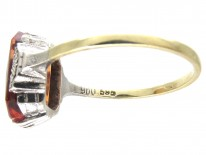Art Deco Rectangular Fire Opal Ring