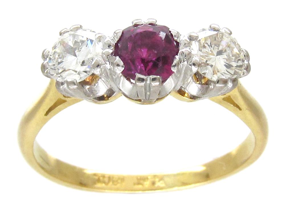 Ruby & Diamond Three Stone Ring